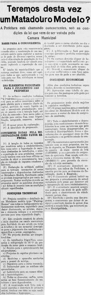 1917 - Memorial descritivo da proposta apresentada para o Matadouro Modelo.In: Jornal A Republica. op. cit. Anno XXXII, n.° 125. Curityba: 30 de maio de 1917. p.1.