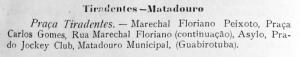 1917. Horários da linha de bondes para o Matadouro. In: LAMBERT, Egydio. O Guia Paranaense. Anno I, n.° 1. Curitiba, 1917.